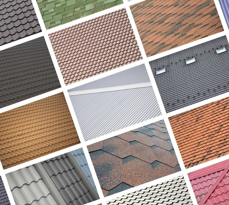 A collage showing different types of roof materials