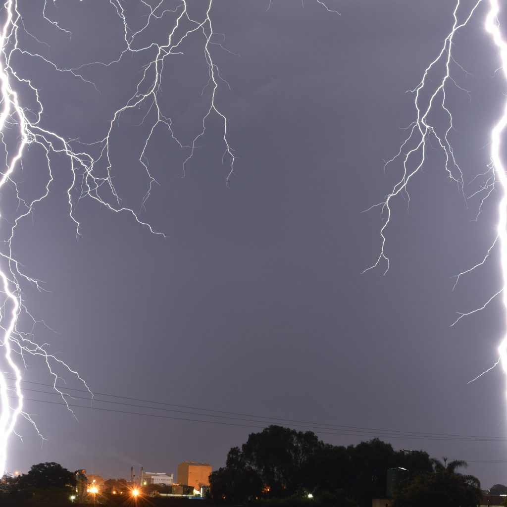 Lightning above town